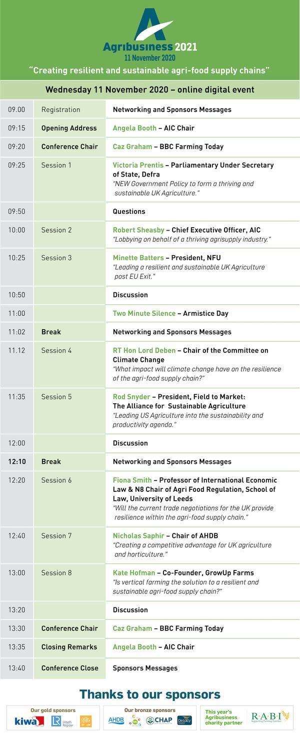 Agribusiness 2021 Agenda, 11 November 2020